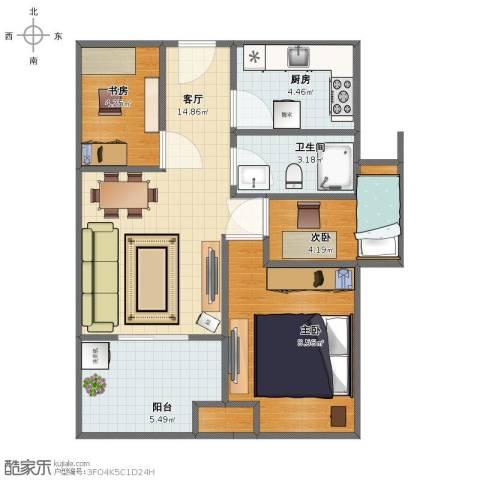 新城香溢紫郡3室1厅1卫1厨53.00㎡户型图