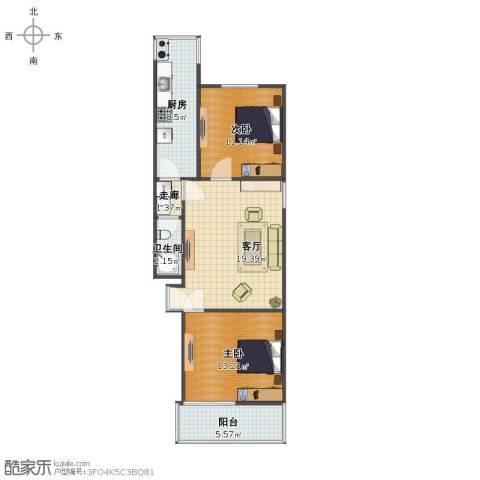 燕城苑小区2室1厅1卫1厨69.00㎡户型图