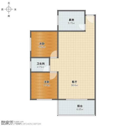 北池头2室1厅1卫1厨67.00㎡户型图