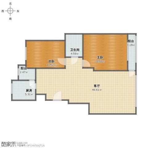 金寓花园2室1厅1卫1厨102.00㎡户型图