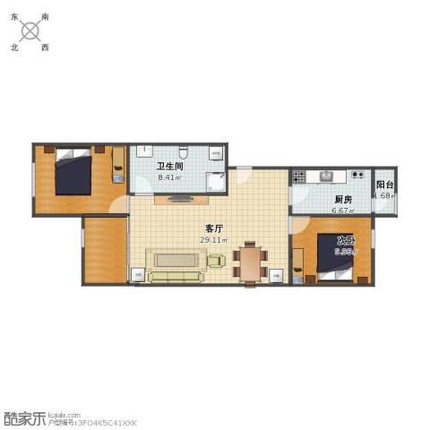 北潞春绿色生态小区1室1厅1卫1厨69.00㎡户型图