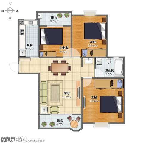 合生杭州湾国际新城3室1厅1卫1厨88.00㎡户型图