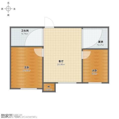 宇圣明珠2室1厅1卫1厨60.00㎡户型图