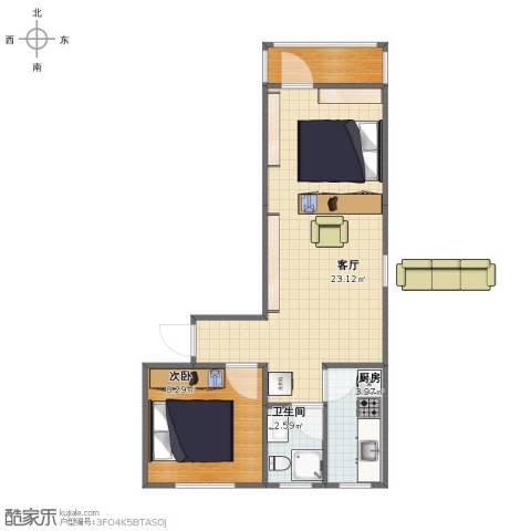 农光里小区1室1厅1卫1厨46.00㎡户型图