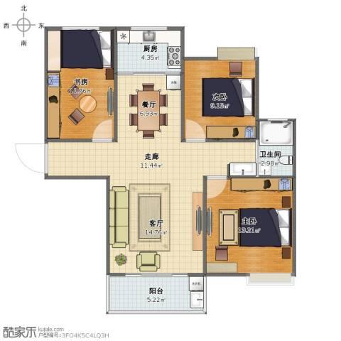 长航蓝晶国际3室2厅1卫1厨88.00㎡户型图
