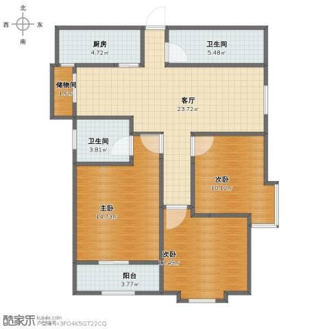 华城泊郡二期3室1厅1卫2厨92.00㎡户型图