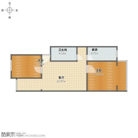 南太平庄北巷2室1厅1卫1厨58.00㎡户型图