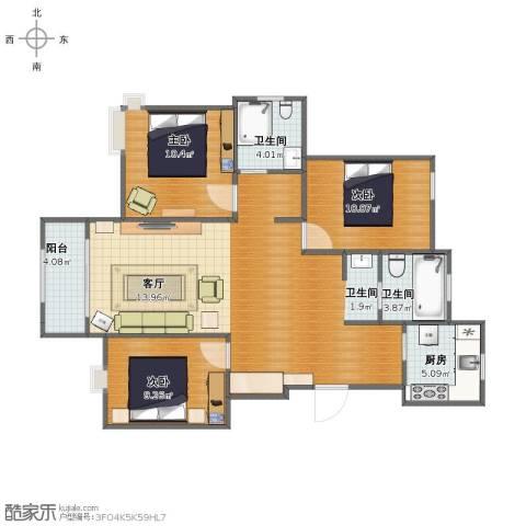 莘香雅苑3室1厅1卫3厨94.00㎡户型图