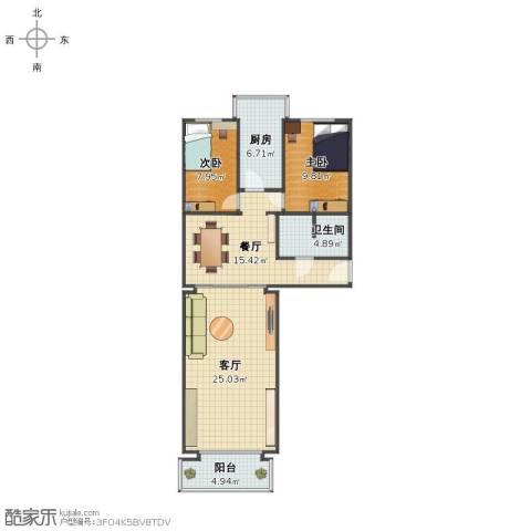果园西小区2室2厅1卫1厨84.00㎡户型图