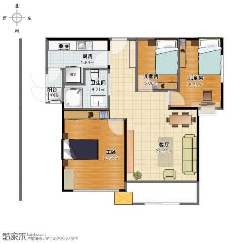 天居玲珑湾3室1厅1卫1厨70.00㎡户型图