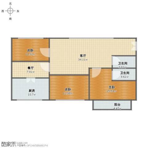佳旺花园3室2厅1卫2厨115.00㎡户型图
