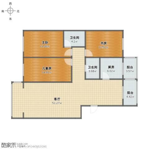 奥林花园3室1厅1卫2厨126.00㎡户型图