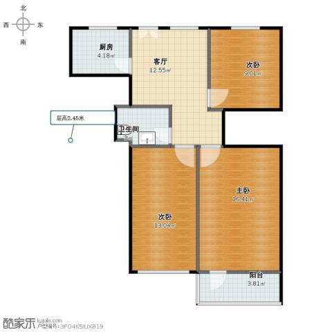 潘家园南里3室1厅1卫1厨69.90㎡户型图