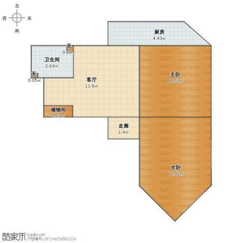 三里河北街5号院2室1厅1卫1厨46.00㎡户型图