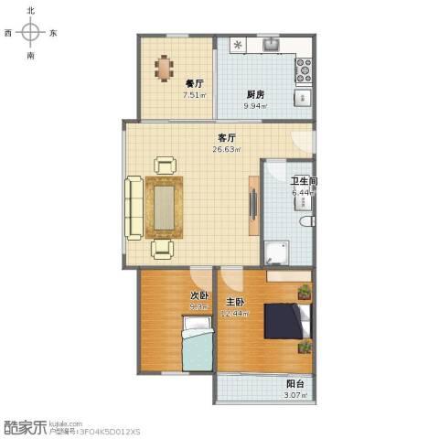 春山华居2室2厅1卫1厨83.36㎡户型图