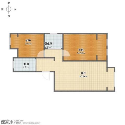 天承锦绣2室1厅1卫1厨72.00㎡户型图