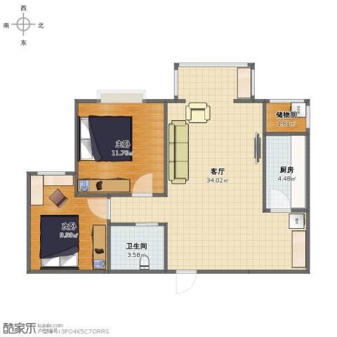 西山枫林2室1厅1卫1厨73.00㎡户型图