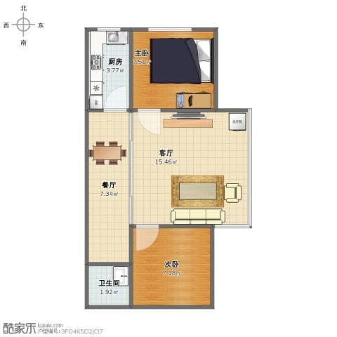 汇雅花园2室2厅1卫1厨49.00㎡户型图