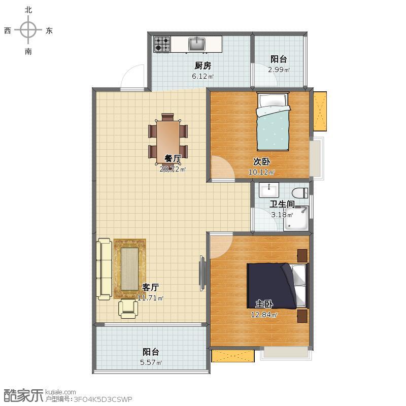 彰泰新城2#A3户型2室2厅1卫1厨 91平