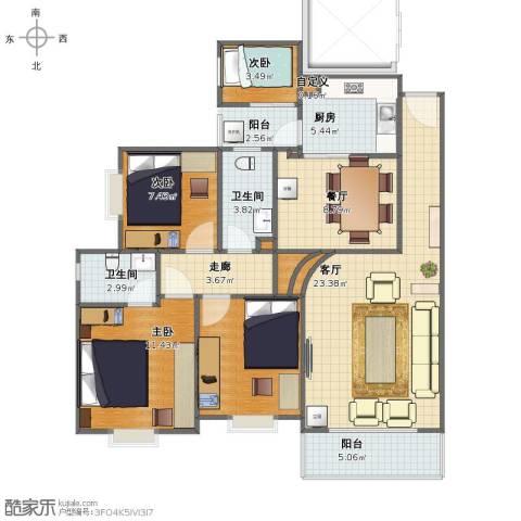 君怡花园3室2厅1卫2厨100.00㎡户型图
