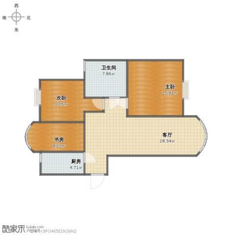 长江花园3室1厅1卫1厨83.00㎡户型图
