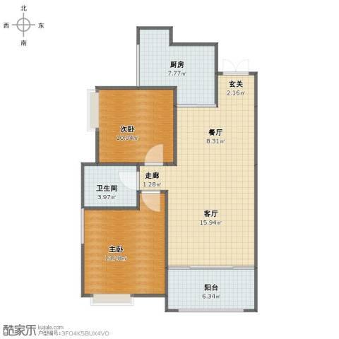 万兴・和睦人家2室2厅1卫1厨96.00㎡户型图