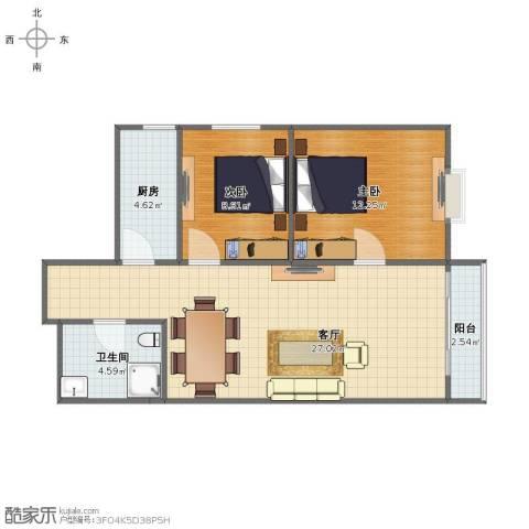 金海湾2室1厅1卫1厨67.00㎡户型图