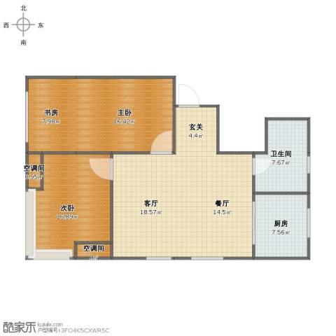 百合山庄3室2厅1卫1厨105.00㎡户型图