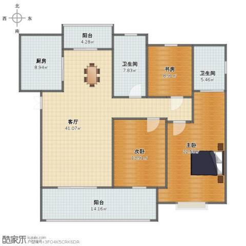 长河花园3室1厅1卫2厨139.00㎡户型图