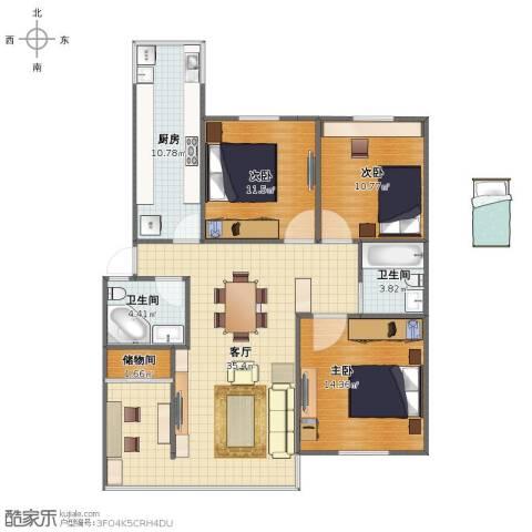 海怡花园3室1厅1卫2厨102.00㎡户型图