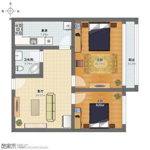 高杨树南里2室1厅1卫1厨73.13㎡户型图
