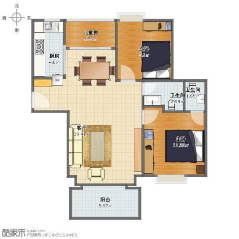 翔安洪塘西炉小区3室1厅1卫2厨77.00㎡户型图