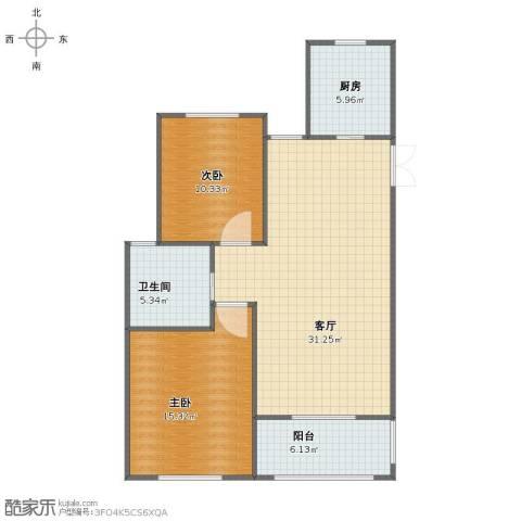 金美林花园2室1厅1卫1厨82.00㎡户型图
