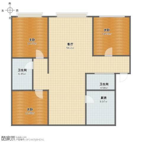 松花雅苑3室1厅1卫2厨129.00㎡户型图
