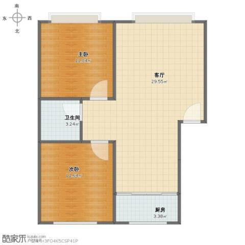 松花雅苑2室1厅1卫1厨65.00㎡户型图
