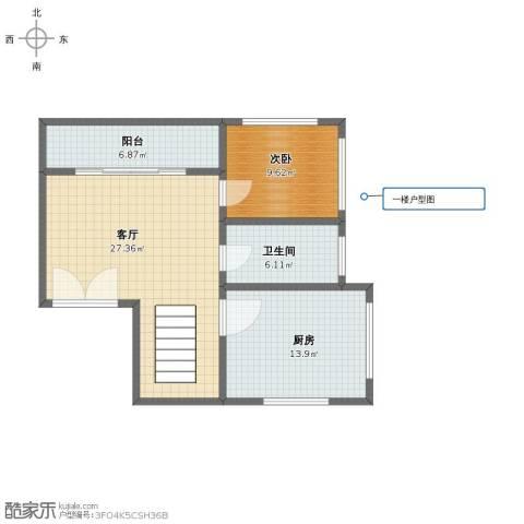 白鹭花园公寓1室1厅1卫1厨75.00㎡户型图
