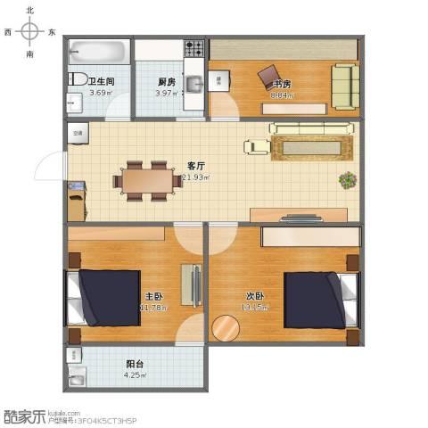 北门新村3室1厅1卫1厨75.00㎡户型图