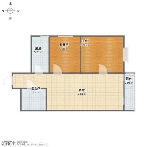金海湾2室1厅1卫1厨70.00㎡户型图