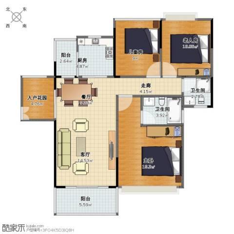 丽日名都3室2厅1卫2厨98.00㎡户型图