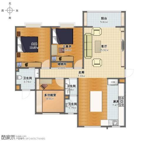 西城名邸2室1厅1卫3厨100.00㎡户型图