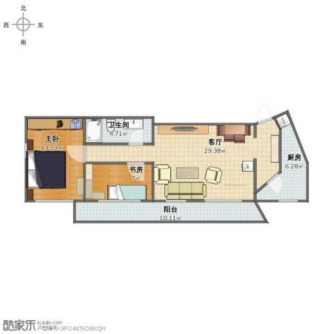 西晴公寓2室1厅1卫1厨79.00㎡户型图