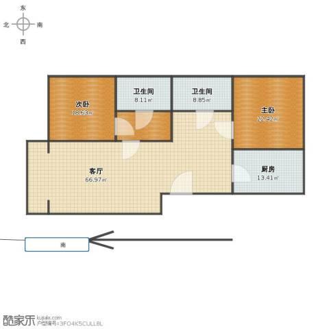 梧桐苑公寓2室1厅1卫2厨156.00㎡户型图