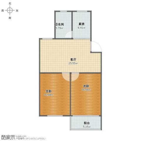 南星苑2室1厅1卫1厨84.58㎡户型图