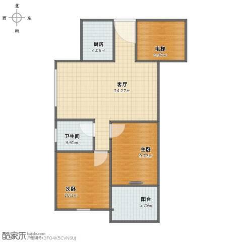 新景花园2室1厅1卫1厨71.00㎡户型图