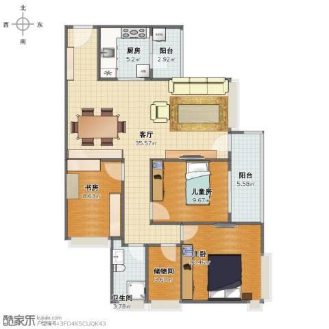 世荣名筑3室1厅1卫1厨97.00㎡户型图