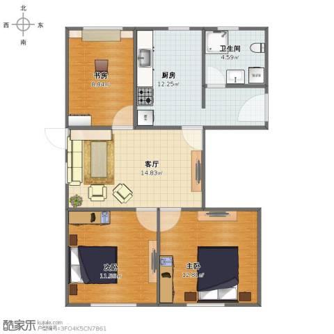 龙柏二村3室1厅1卫1厨72.00㎡户型图