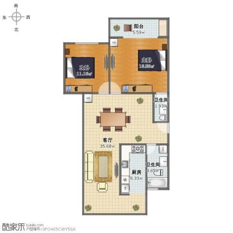 罗阳一村2室1厅1卫2厨90.00㎡户型图