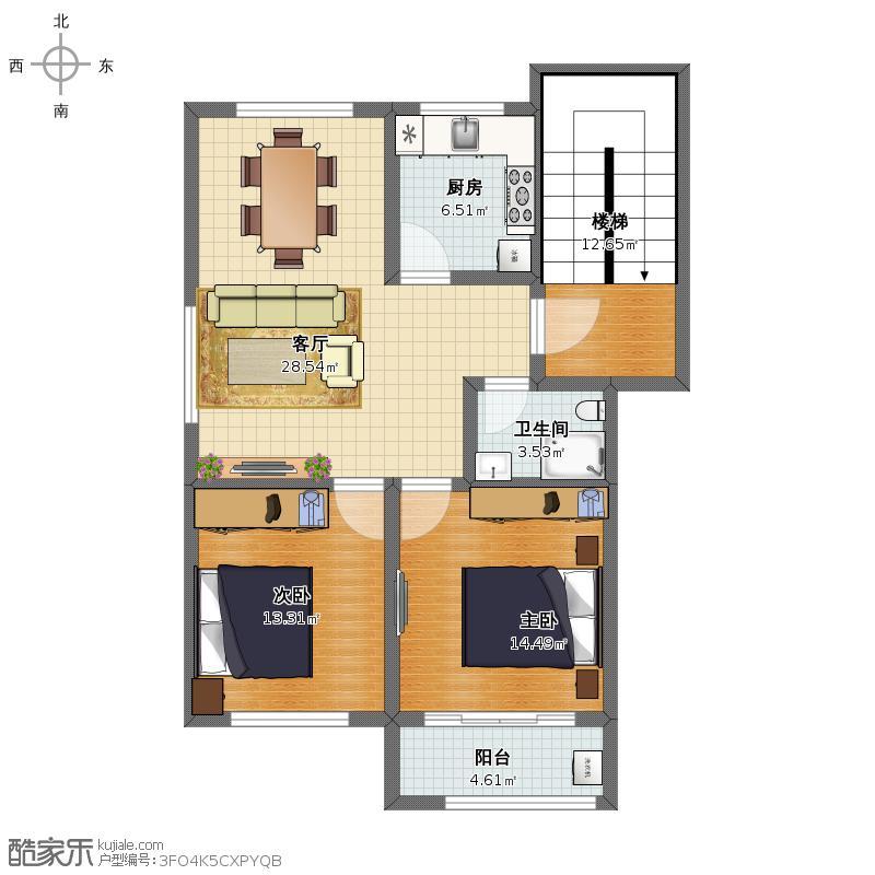 两室两厅一卫  A户型