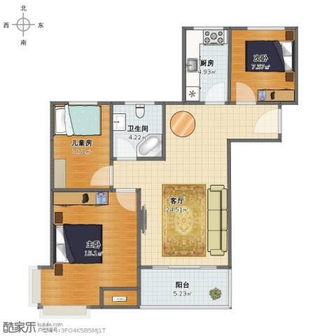 碧桂园滨海城3室1厅1卫1厨78.00㎡户型图
