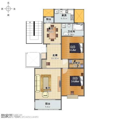 三江锦绣江南2室2厅1卫1厨95.00㎡户型图